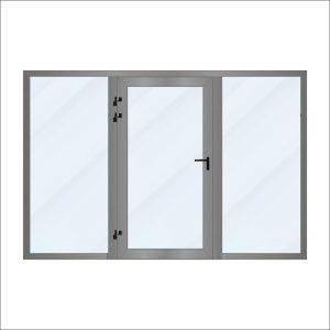 Witryna aluminiowa z drzwiami Aluprof